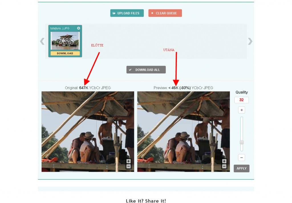 képoptimalizálás - előtte és utána méretek
