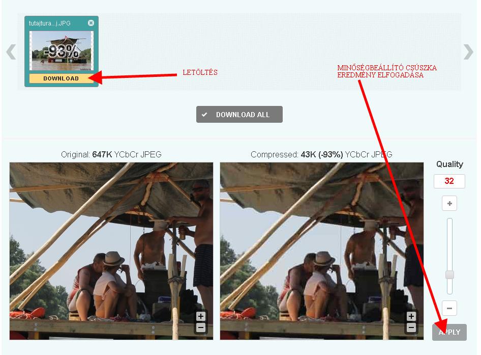 képoptimalizálás - az optimalizált kép letöltése